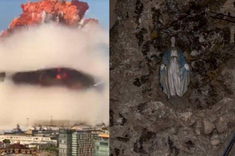 La imagen de la Virgen que quedó intacta tras la explosión de Beirut