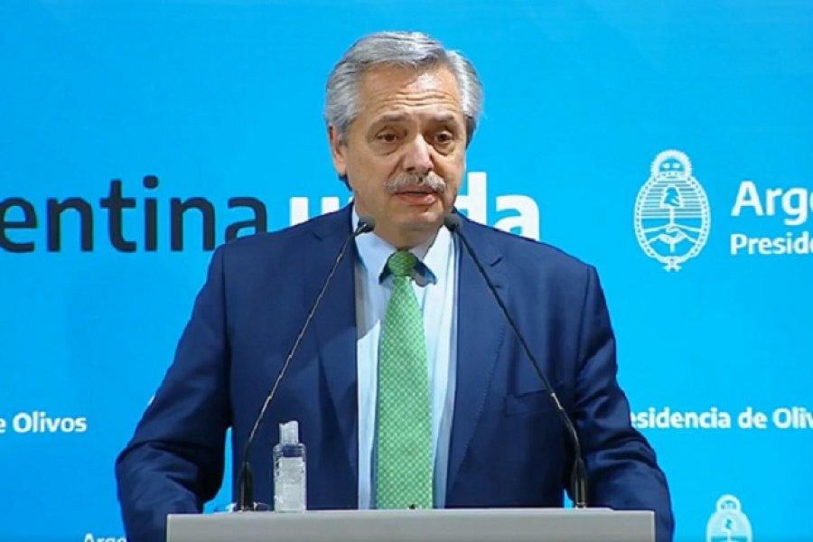 El presidente Alberto Fernández anuncia como continúa el aislamiento social
