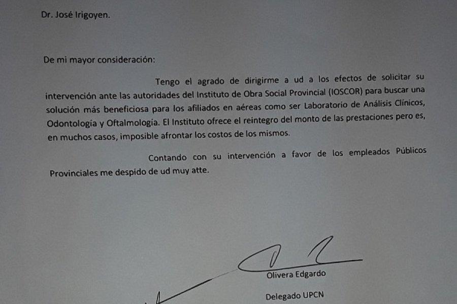 Curuzú: Delegado de UPCN pide al Intendente que interceda ante el IosCor