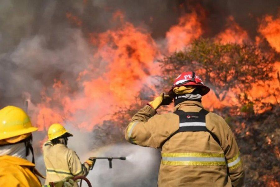 Disponen un premio de 10 mil pesos para los bomberos que combaten incendios forestales