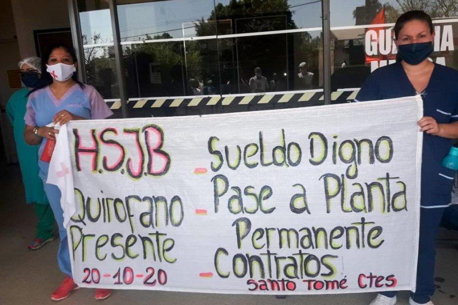 Enfermeras precarizadas de Santo Tomé reclaman estabilidad y aumento salarial