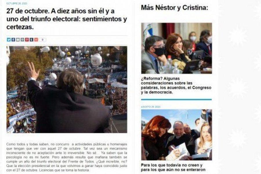27 de octubre: la carta de Cristina por el aniversario de la muerte de Kirchner y el año del triunfo electoral