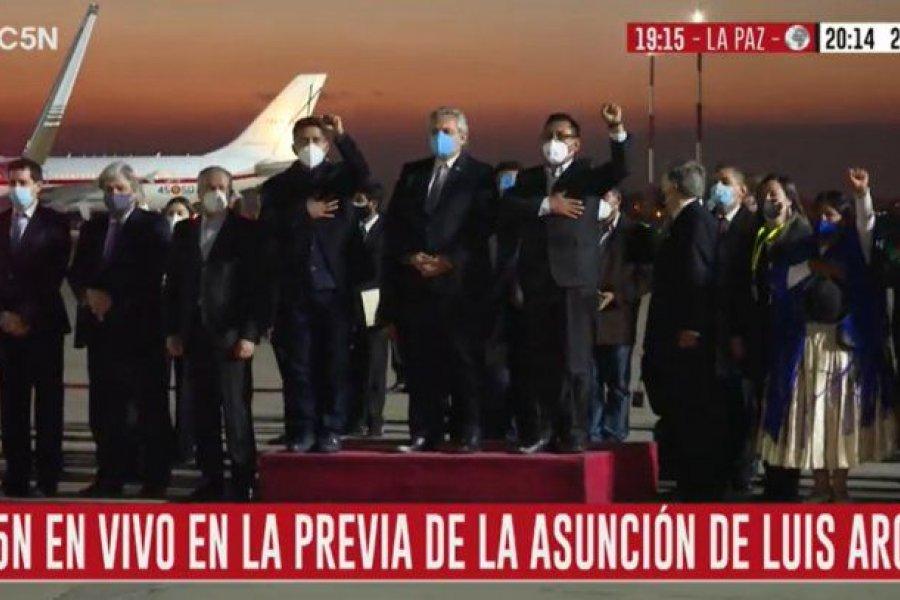 Alberto Fernández llegó a Bolivia para la asunción del presidente Luis Arce