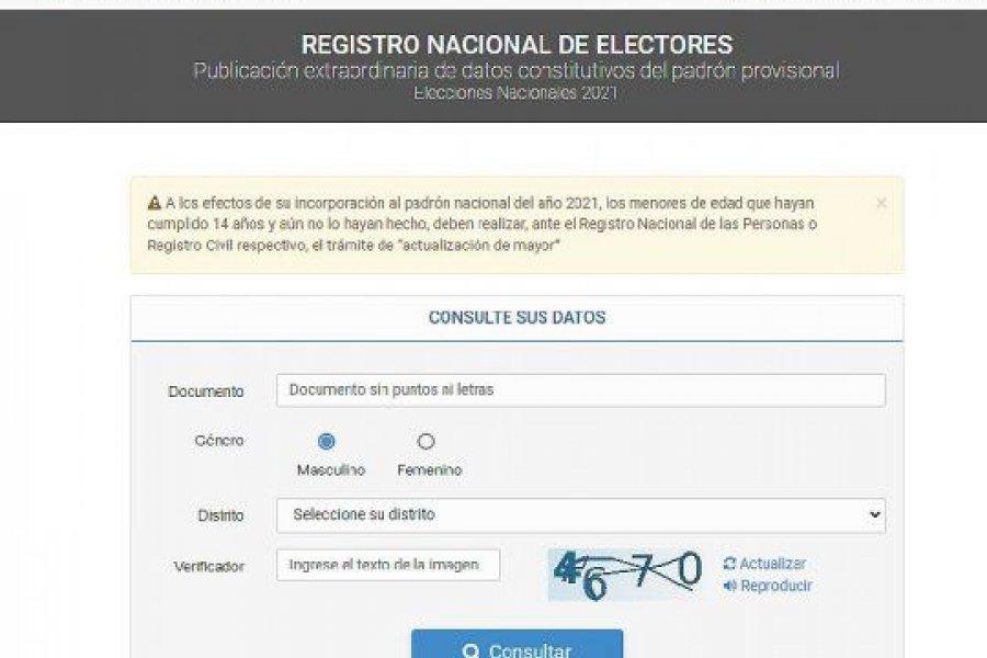Este viernes habilitan el padrón electoral para consultar y corregir datos