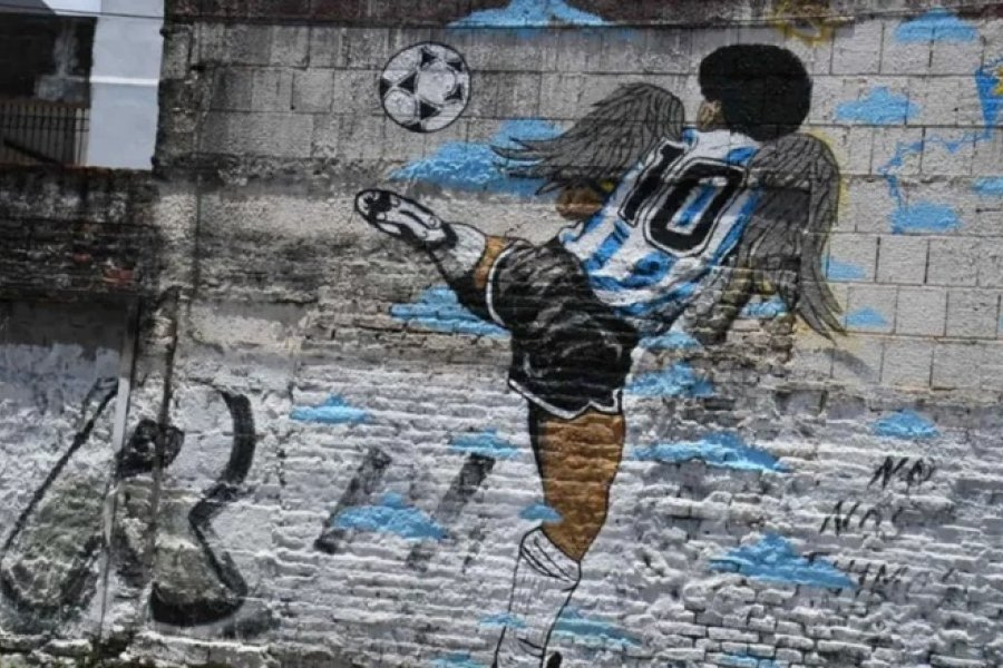Homenaje a Maradona en un barrio Capitalino