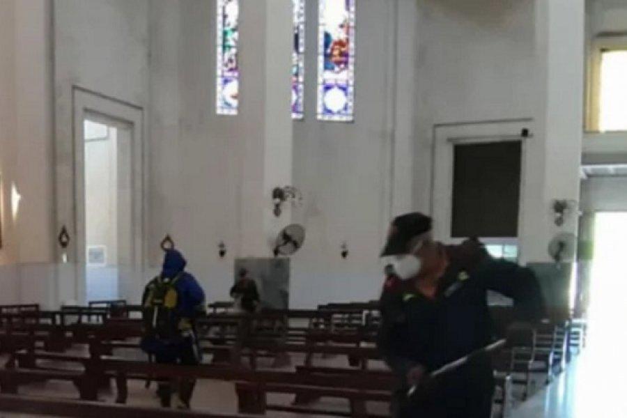 Arribo de peregrinos y desinfección de la Basílica