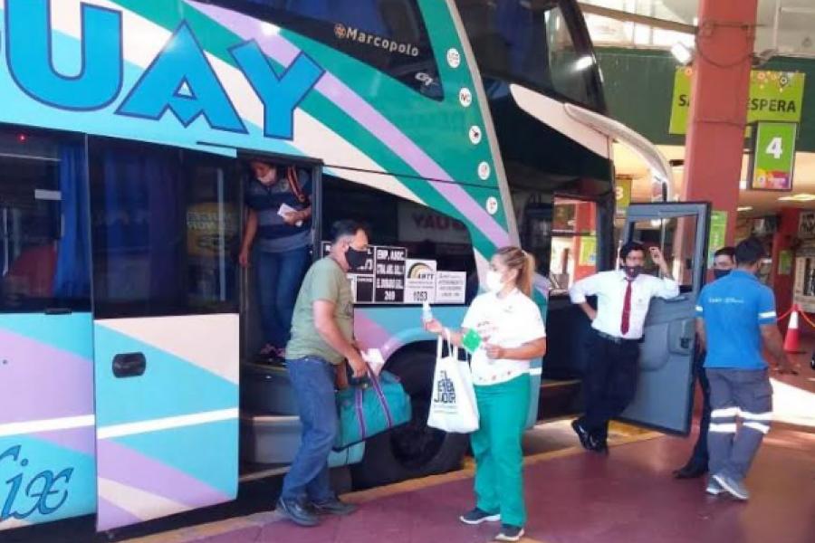 Salud realiza tareas de prevención de Covid-19 en la Terminal