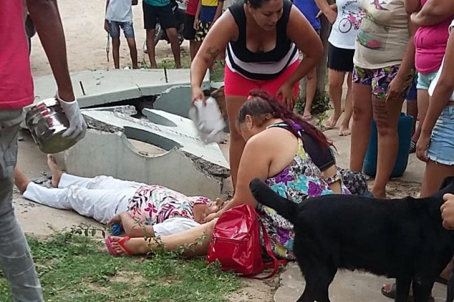 Garita municipal cayó sobre una mujer y la dejó gravemente herida