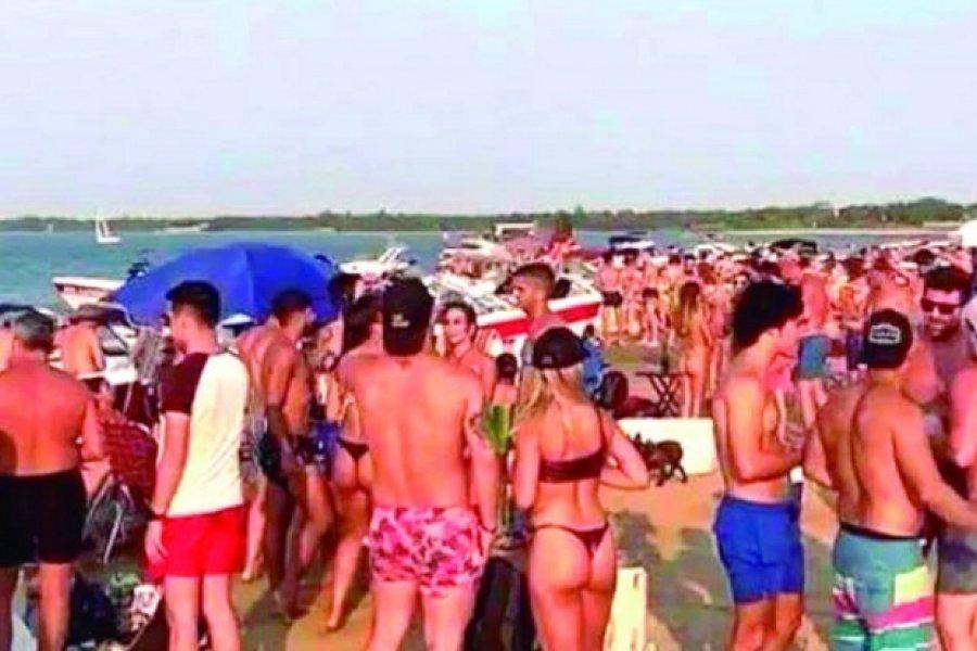 Otro fin de semana a pura fiesta y descontrol en el banco de arena