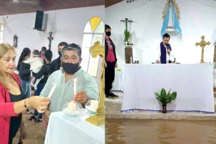 Celebraron un bautismo con el agua por los tobillos y se quejaron por la falta de obras