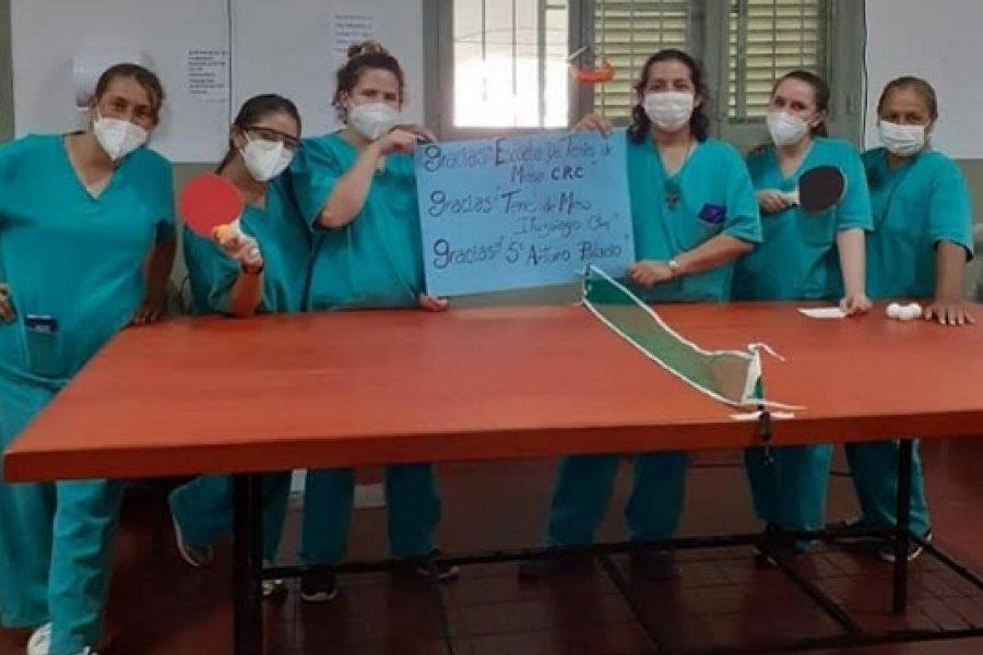 Donación de la escuela de Tenis de Mesa para el Hospital de Campaña