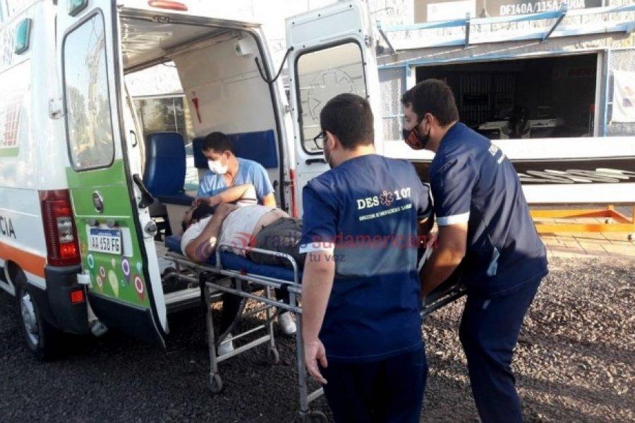 Trabajador sufrió un grave accidente cuando descargaba estructura de un tráiler