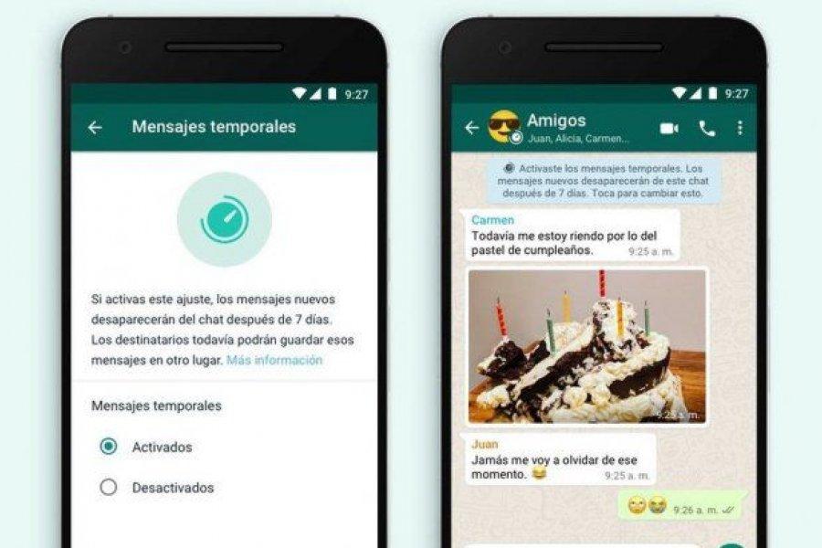 Los mensajes temporales llegaron a WhatsApp: cómo habilitarlos