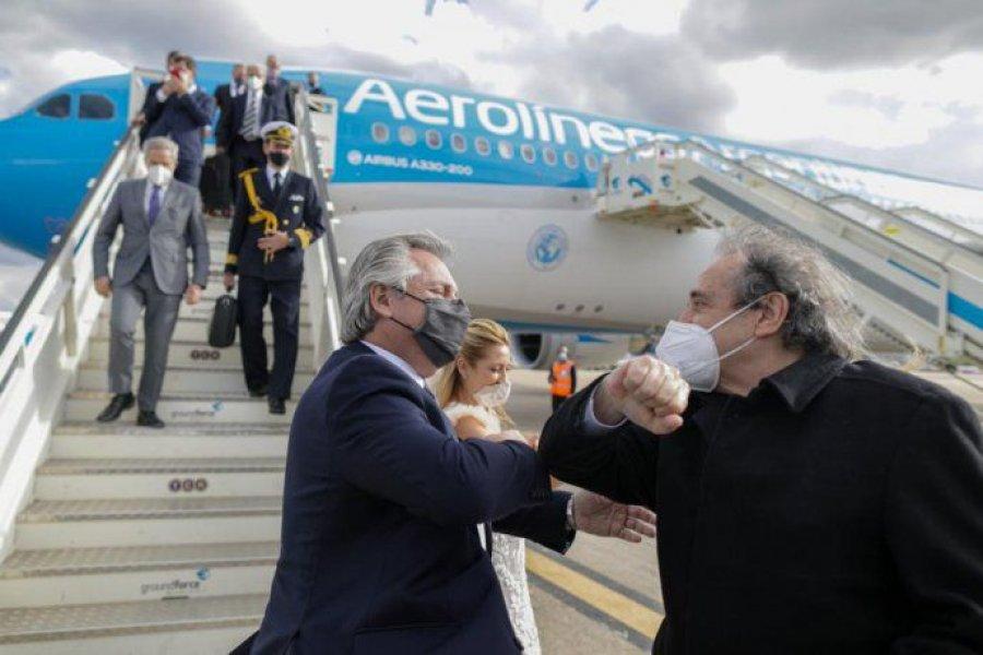 Alberto Fernández arribó a Madrid para continuar con la gira europea