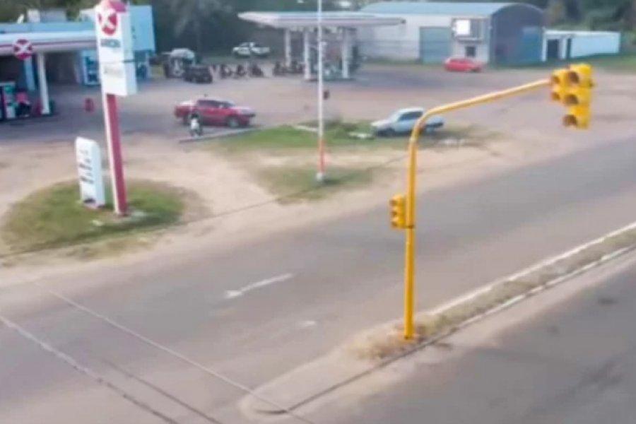Instalaron semáforos en el acceso a San Luis del Palmar