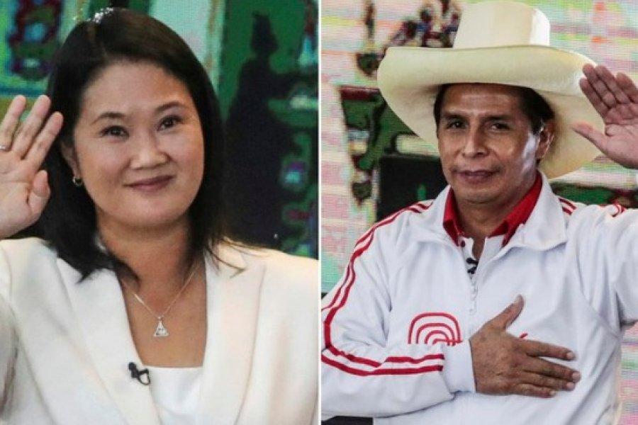 Ballotage en Perú: Con el 91% de las actas procesadas, Keiko Fujimori se impone a Pedro Castillo por escaso margen