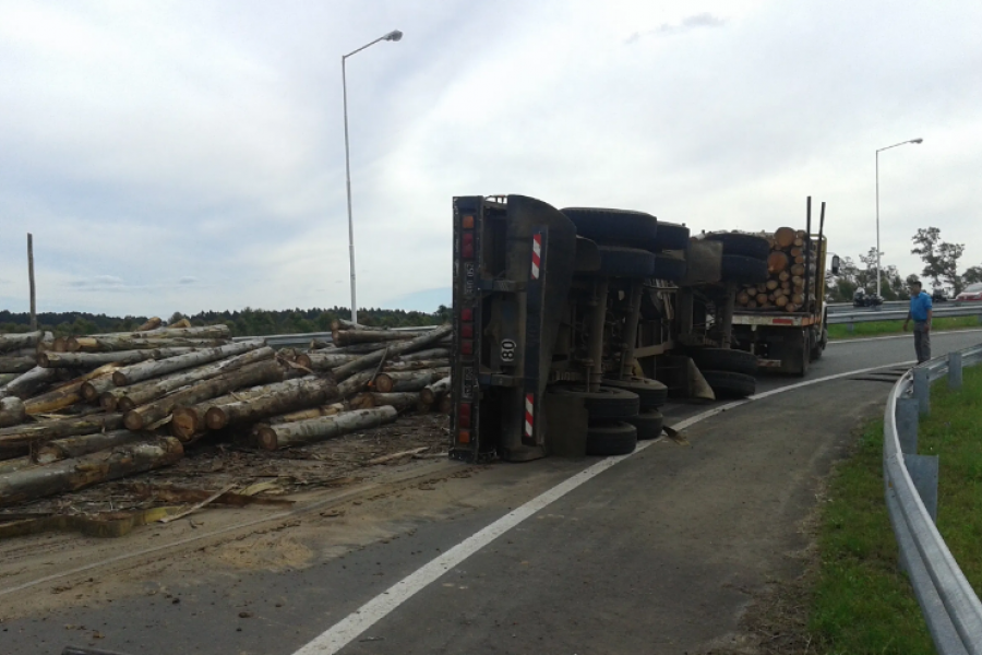 Volcó camión con madera en Ruta 14