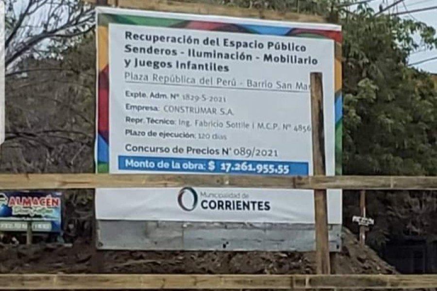 Otra millonaria obra municipal para juegos de una plaza en plena pandemia