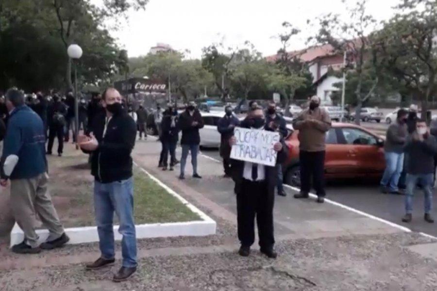 Protesta de empleados del casino por las restricciones sanitarias en Corrientes
