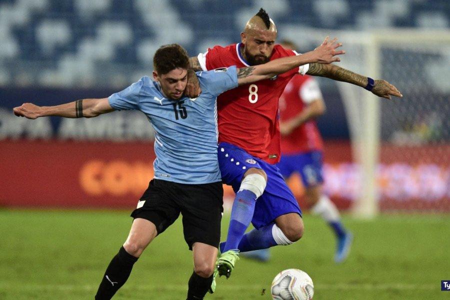 Uruguay rompió la sequía y pudo empatar ante Chile en la Copa América