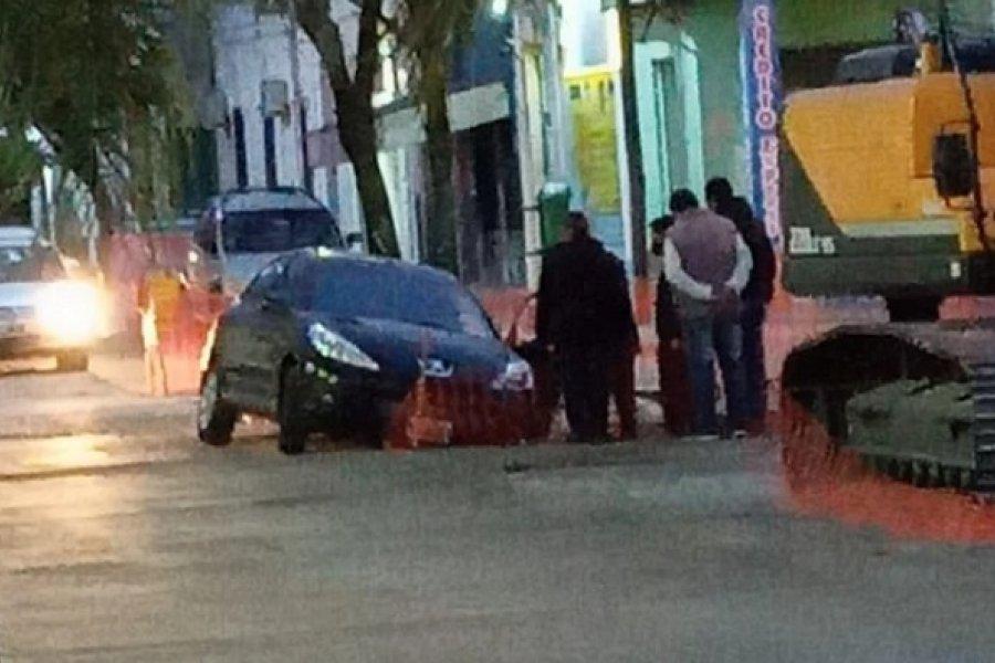 Goya: Insólito accidente en la repavimentación de una calle céntrica