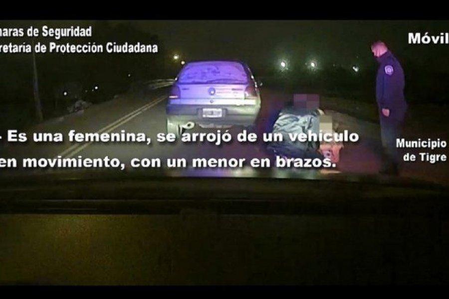 Una mujer se arrojó de un auto en marcha con sus hijos para escapar de su agresor