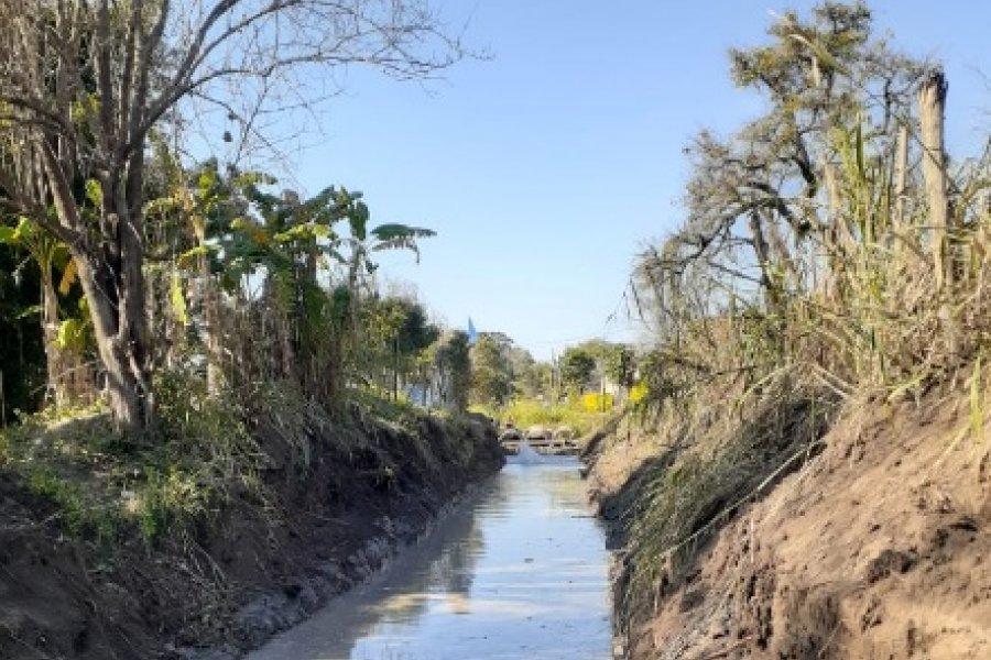 Se realiza obra hídrica en el arroyo Pozo de la Patria de San Luis del Palmar