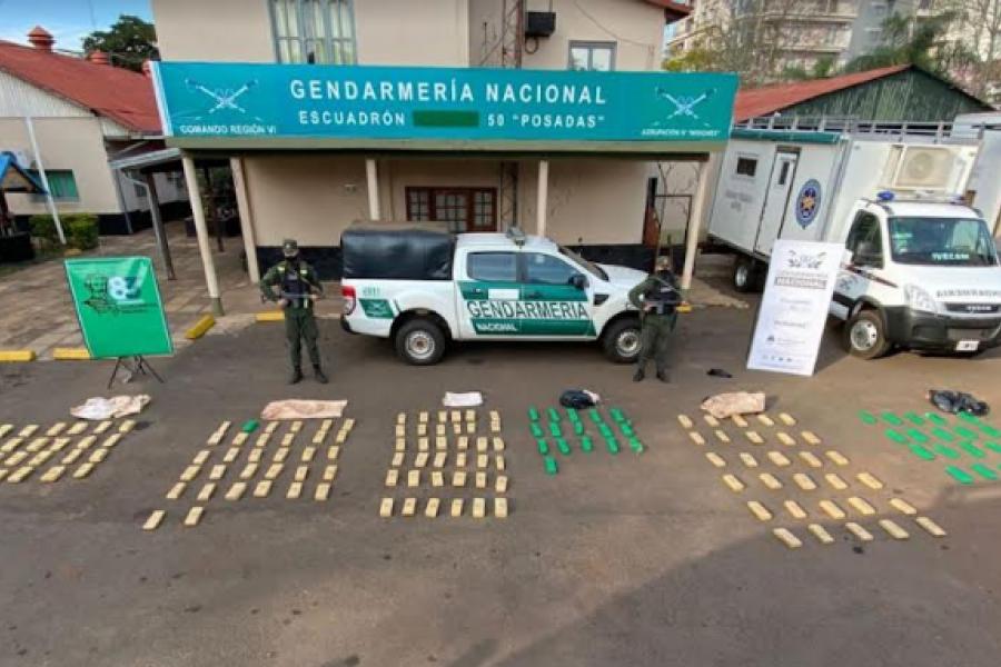 Una patrulla detectó más de 120 kilos de marihuana en una zona montuosa