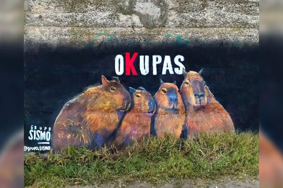 """Pintaron un mural en homenaje a los carpinchos  y lo llamaron """"Okupas"""""""