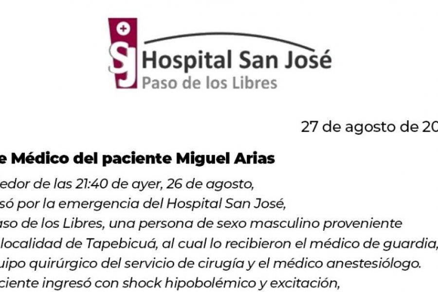 Parte Médico: Miguel Arias se encuentra estable e internado en terapia intensiva