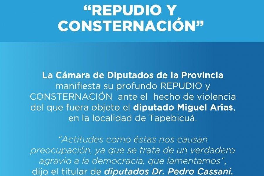 La Cámara de Diputados manifestó el repudio y consternación ante el ataque al diputado Miguel Arias