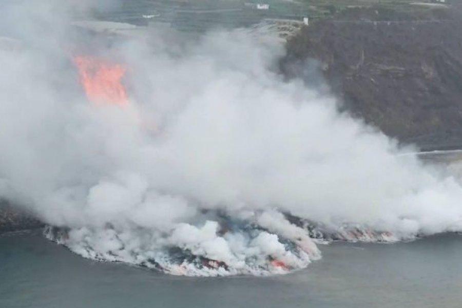 La lava del volcán de La Palma entró en contacto con el mar