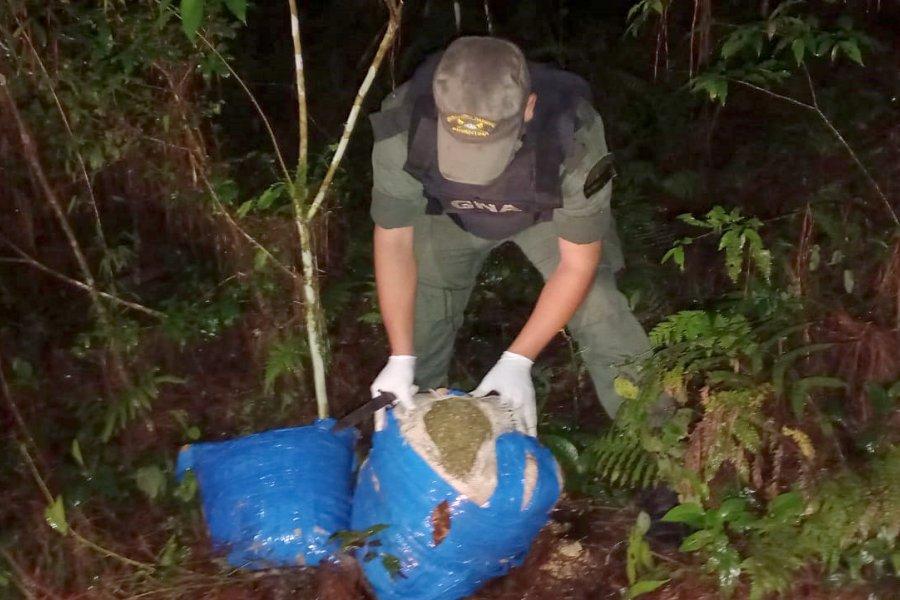 Abandonan bultos con más de 21 kilos de cogollos de marihuana entre la maleza misionera