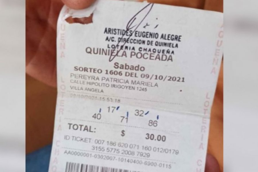 Carrero se llevó un premio de $2 millones de la Poceada chaqueña